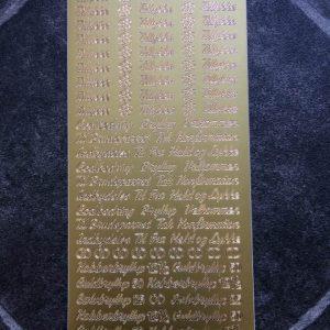 Stickers / Med tekster på begivenheder i guld