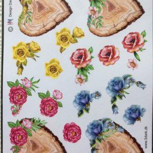 Blomster/3d ark med blomster på hjerte/Hm design