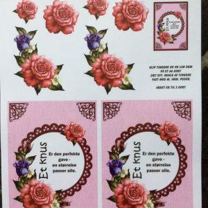 Blomster/3d ark med smukke roser på ramme