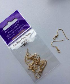 Ørewire-fiskekrog øreringe i guld