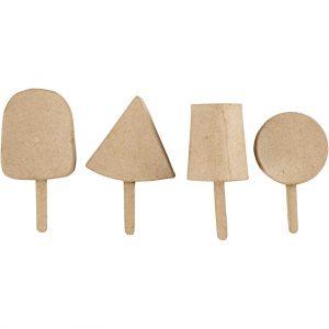 Håndlavede ispinde af papmache pakke med 4 forskellige