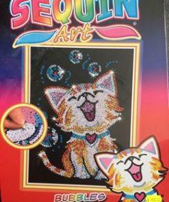Palliet-billede med en sød kat / sequin art