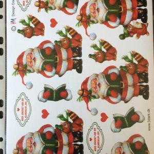 Jul/3d ark med en skøn syngende julemand/juleark