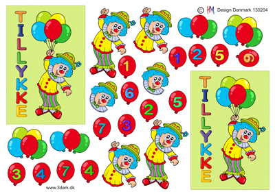 Børn/3d ark klovn med balloner/HM design