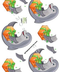 Dyr/3d ark delfin med gave/Dan-design