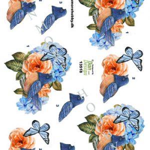 Dyr/3d ark med fugl i blomst/Dan-design