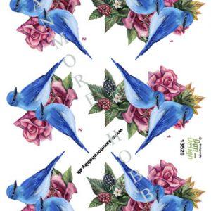 Dyr/3d ark med blå fugle/Dan-design
