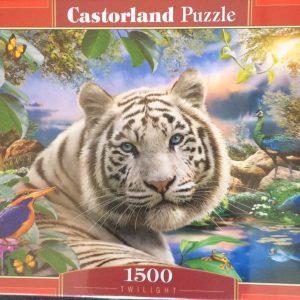 Puzzlespil/1500 brikker/med en flot hvid tiger