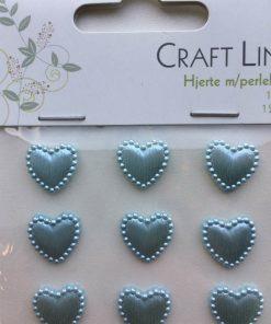 Hjerter med perlekant 15 mm/12 stk i lyseblå