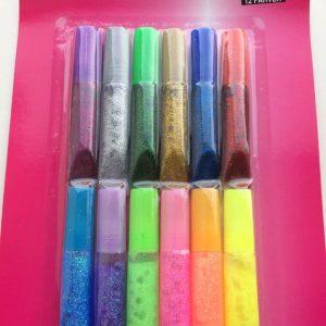 Glitter glue 6 ml 12 stk. assorteret farver
