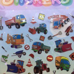 Stickers med sødt bygge og anløg udstyr