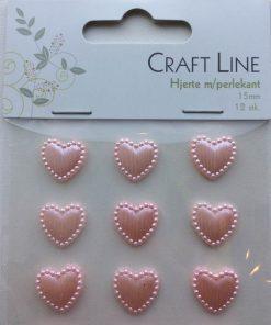 Hjerter med perlekant 15 mm/12 stk i lyserød