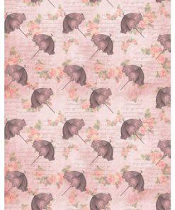 Castello/Papir med lyserøde blomster og paraplyer