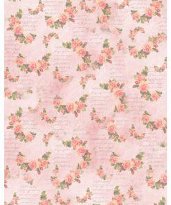 Castello/Papir med blomsterranker på lyserød baggrund
