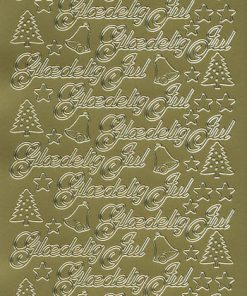Stickers jul/Skrift i guld med glædelig jul