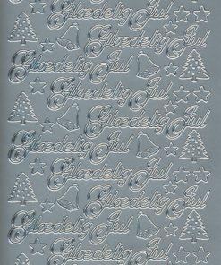 Stickers jul/Skrift i sølv med glædelig jul