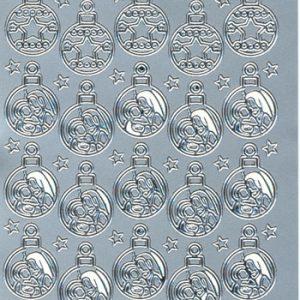 Stickers jul/Sølv/Med flotte julekugler