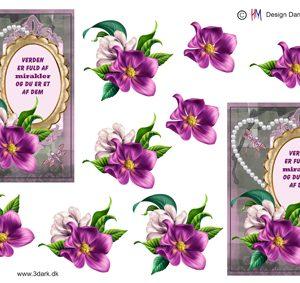 Blomster / 3D ark med ramme og tekst / HM Design