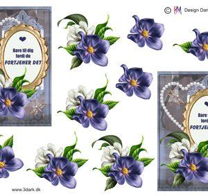 Blomster/Ramme med sød tekst/ HM Design