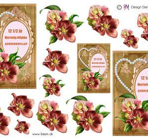 Begivenhed/Kobberbryllups tekst og blomster/HM Design