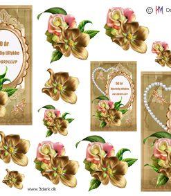 Begivenhed/Guldbryllups tekst og blomster/HM Design