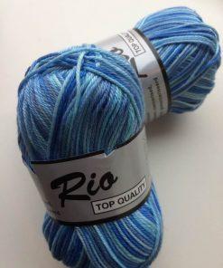 Rio-multi farvet garn 100 % bomuld / Blå