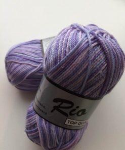 Rio-multi farvet garn 100 % bomuld / lilla