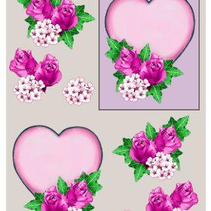 Blomster/3D ark med lilla hjerte og roser/Matori