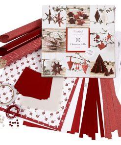 Flette og foldesæt / Hvid og Rød, 1 sæt