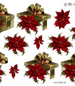 Jul / 3D ark med pakke og julestjerne / HM Design