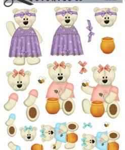 Børn / 3D ark med 3 søde bamsepiger / Quickies