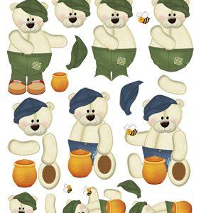 Børn / 3D ark med 3 søde drenge-bamser / Quickies