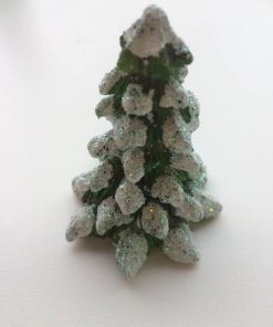 Grantræ i grøn med glimmer / 7 cm