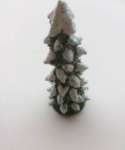 Grantræ i grønt med glimmer / 12 cm