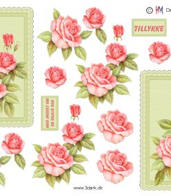 Blomster / 3D ark smukke lyserøde roser / HM Design
