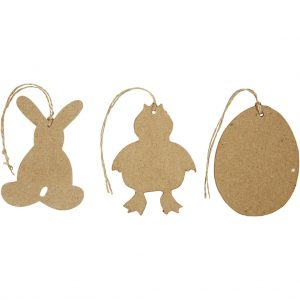 Påskeophæng, hare, kylling, æg, H: 10 cm, 6 stk.