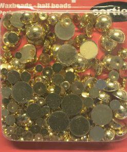 Halvperler voks guld farve, ass. str. 10 g