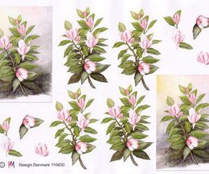 Blomster / 3D ark med lyserøde & hvide blomster / HM Design