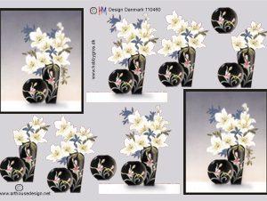 Blomster / 3D ark vaser & hvide blomster / HM Design