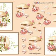 Blomster / 3D ark med smukke svampe / HM Design