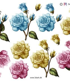 Blomster / 3D ark med 3 smukke roser / HM Design
