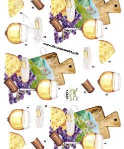 Blandet / 3D ark med hvidvin og ost