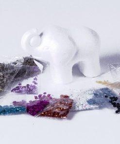 Elefant / Sequin art 3D, figur med pallietter, H: 11 cm