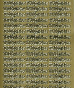 Stickers / med tillykke i guld
