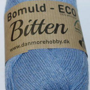 Bitten / Økologisk bomuldsgarn - støvet blå col 43