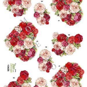 Blomster / 3D ark rosen hjerte / Dan-Design