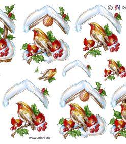 Jul / 3D ark rødkælk ved fuglehus / HM Design