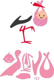 Dies / Stork med baby / Marianne design
