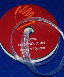 Organzabånd 6 mm x 10 meter / Lyseblå