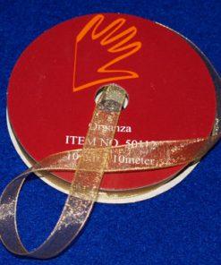 Organzabånd 6 mm x 10 meter / Guld